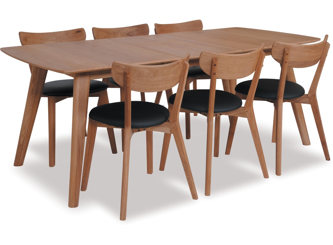 Rho 1800 extension dining table pero chairs x 6 for Dining room tables nz