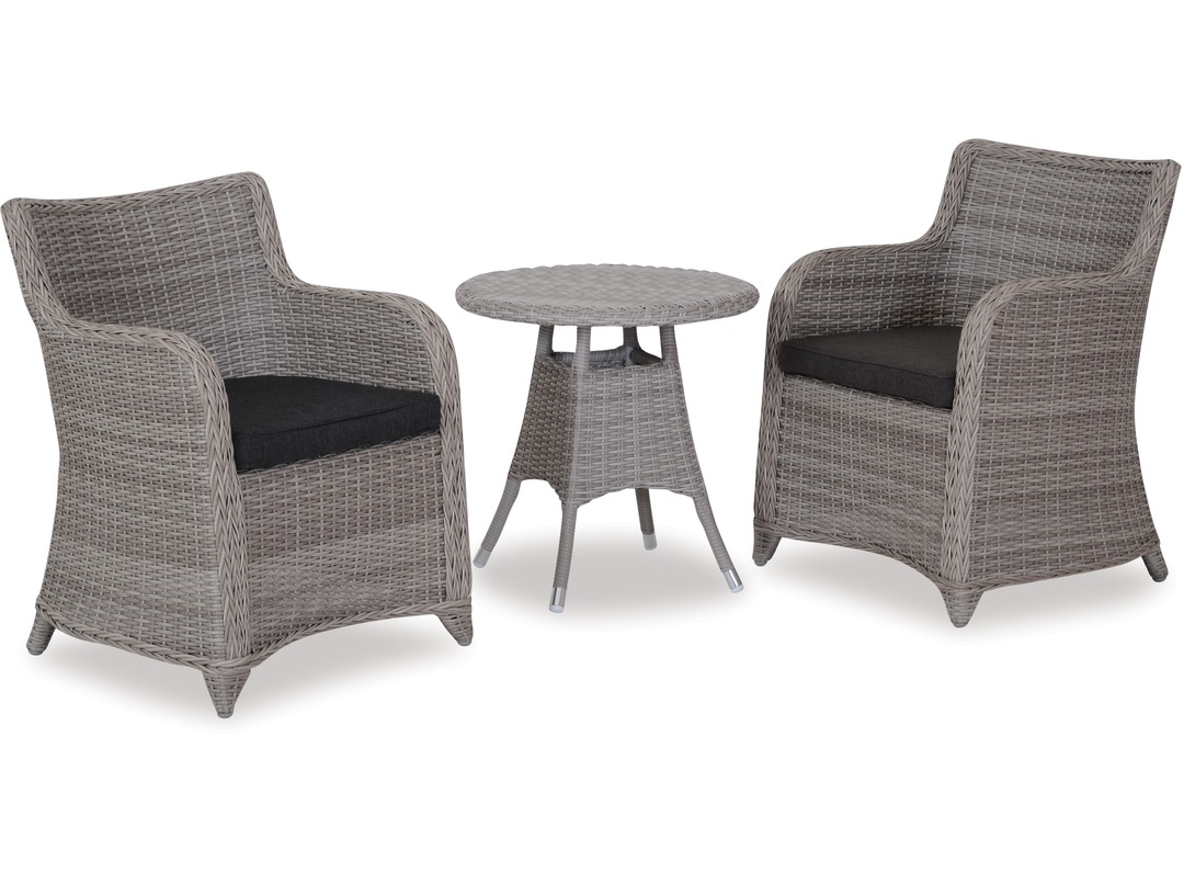 Phuket 600 round outdoor side table bali outdoor chairs x 2
