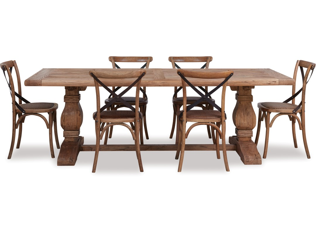 Old Elm Dining Table Cross Chairs X 6