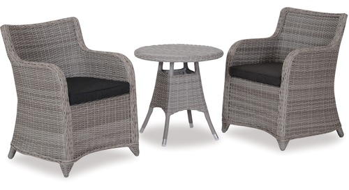 Phuket 600 Round Outdoor Side Table & Bali Outdoor Chairs x 2
