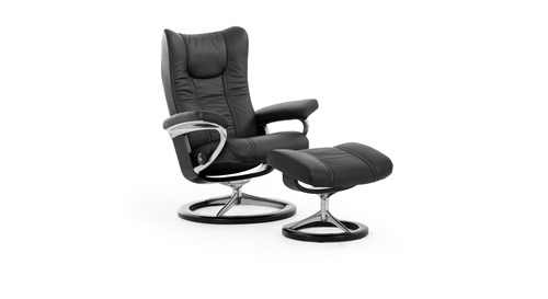 Stressless® Wing Leather Recliner - Signature Base