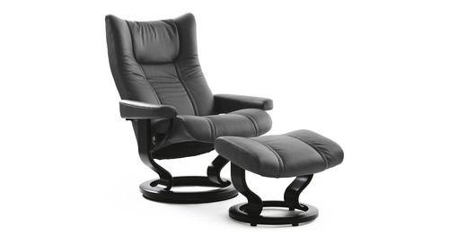 Stressless® Wing Leather Recliner - Classic Base