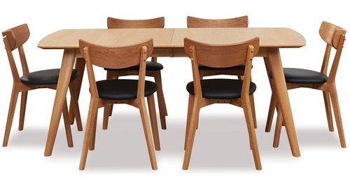 Rho 1500 Small Extension Dining Table & Pero Chairs x 6