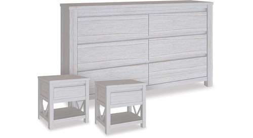 Coastal Dresser & 1 Drawer Bedsides x 2