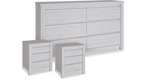 Coastal Dresser & 3 Drawer Bedsides x 2