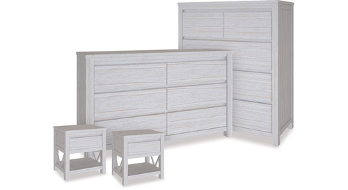 Coastal Tallboy, Dresser & 1 Drawer Bedsides x 2