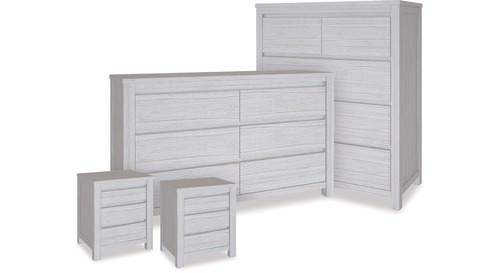 Coastal Tallboy, Dresser & 3 Drawer Bedsides x 2