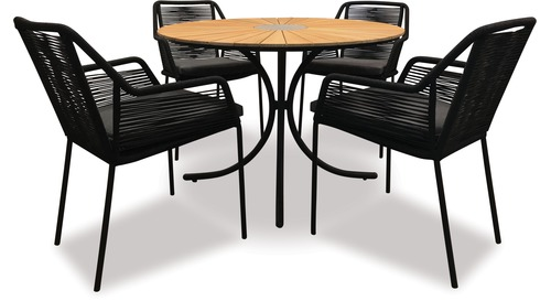 Alfresco Sintra 1100 Round Teak Dining Table  & Alfresco Apela Rope Chair x 4
