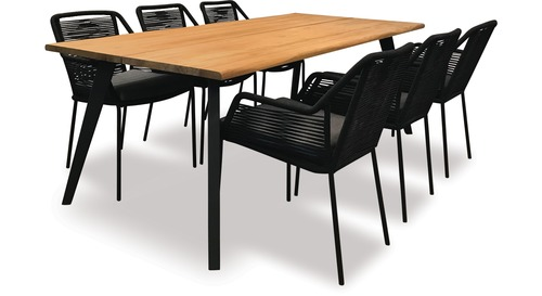 Alfresco Sintra 2100 Oblong Teak Dining Table  & Alfresco Apela Rope Chair x 6