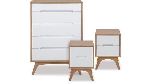 Copenhagen Tallboy Bedsides Danske, White Lacquer Bedroom Furniture Nz